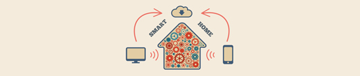 Smart home in the cloud concept symbol illustration
